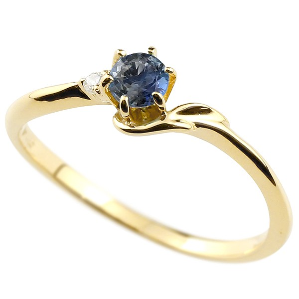 イエローゴールドk10アルファベット イニシャル ネーム 指輪 ピンキーリング ブルーサファイア F 華奢リング 送料無料 9月誕生石 レディース ダイヤモンド 10金
