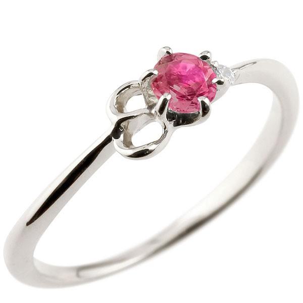 イニシャル ネーム E ピンキーリング ルビー ダイヤモンド 華奢リング プラチナ 指輪 アルファベット レディース 7月誕生石 人気 送料無料