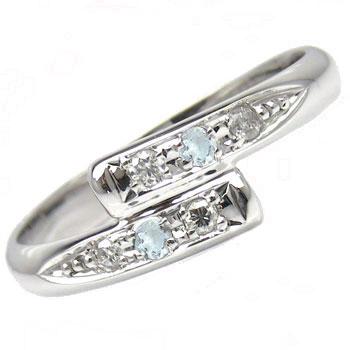 ピンキーリング ダイヤモンド リング 0.05ct アクアマリン ホワイトゴールドk10リング 指輪 ダイヤ10金 ダイヤ ストレート 送料無料