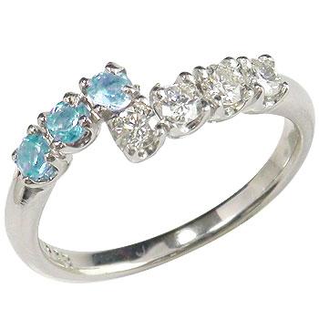 ピンキーリング トパーズ ブルートパーズ ダイヤモンドリング 指輪 ホワイトゴールドk18 18金 ダイヤ 11月誕生石 ストレート 送料無料