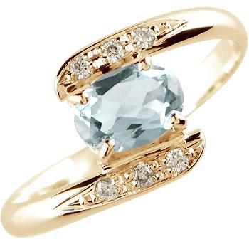 ピンキーリング アクアマリン ダイヤモンドリング 指輪 ピンクゴールドk18 3月誕生石 18金 ダイヤ ストレート 宝石 送料無料