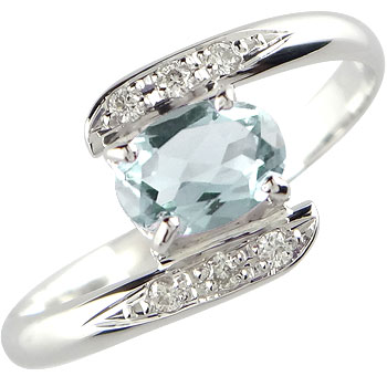 ピンキーリング アクアマリン ダイヤモンド プラチナ リング 指輪 3月誕生石 ダイヤ ストレート 宝石 送料無料