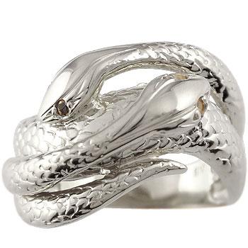 ピンキーリング プラチナ ブラックダイヤモンド シトリン スネーク 双頭のへび 蛇 指輪 ダイヤ 11月誕生石 送料無料