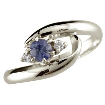 ピンキーリング アイオライト リング 指輪 ダイヤモンド ダイヤ スパイラルリング ホワイトゴールドk10 10金 ストレート 宝石 送料無料