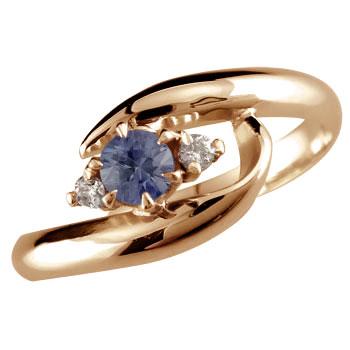 ピンキーリング アイオライト リング 指輪 ダイヤモンド ダイヤ スパイラルリング ピンクゴールドk10 10金 ストレート 宝石 送料無料