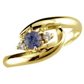 ピンキーリング アイオライト リング 指輪 ダイヤモンド ダイヤ スパイラルリング イエローゴールドk10 10金 ストレート 宝石 送料無料