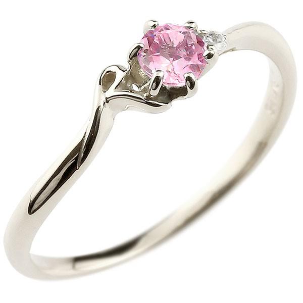 イニシャル ネーム R ピンキーリング ピンクサファイア ダイヤモンド 華奢リング プラチナ 指輪 アルファベット レディース 9月誕生石 人気 送料無料