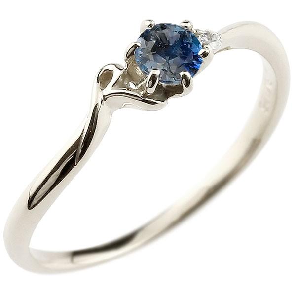 イニシャル ネーム R ピンキーリング ブルーサファイア ダイヤモンド 華奢リング プラチナ 指輪 アルファベット レディース 9月誕生石 人気 送料無料