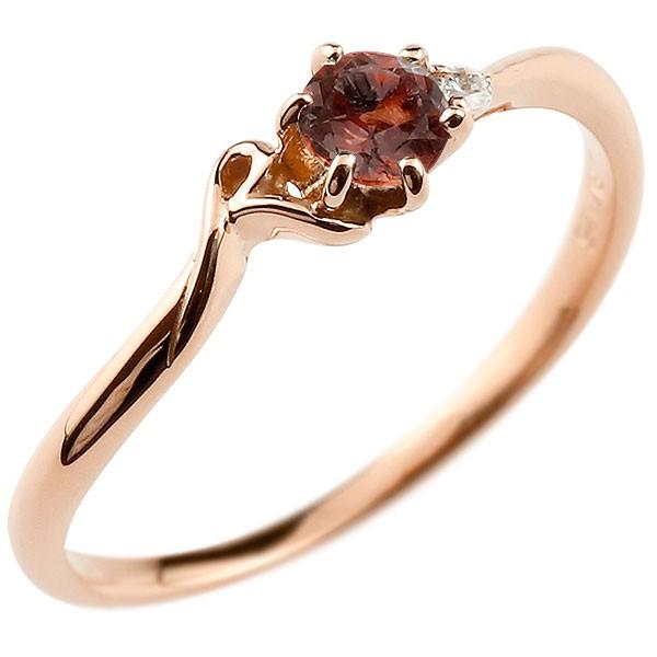 イニシャル ネーム R ピンキーリング ガーネット ダイヤモンド 華奢リング ピンクゴールドk10 指輪 アルファベット 10金 レディース 1月誕生石 人気 送料無料