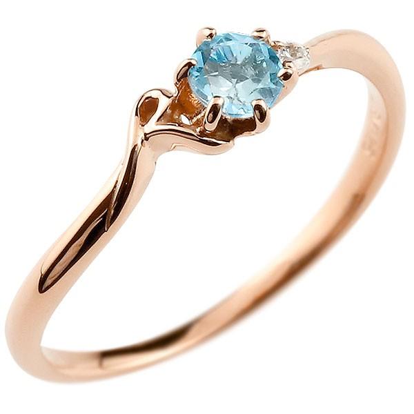 イニシャル ネーム R ピンキーリング ブルートパーズ ダイヤモンド 華奢リング ピンクゴールドk10 指輪 アルファベット 10金 レディース 11月誕生石 人気