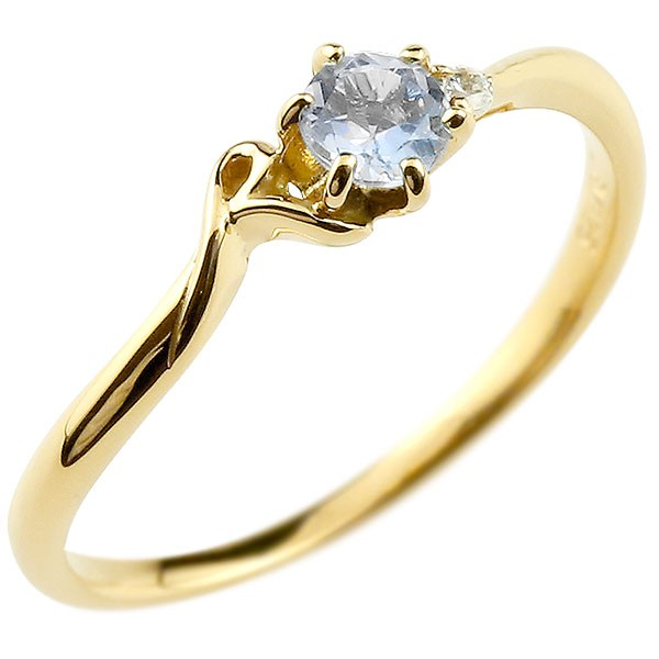 イニシャル ネーム R ピンキーリング ブルームーンストーン ダイヤモンド 華奢リング イエローゴールドk18 指輪 アルファベット 18金 レディース 6月誕生石
