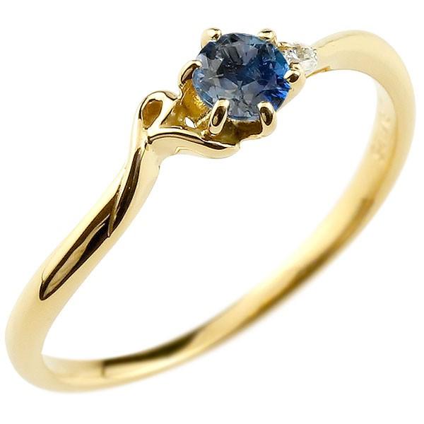 イニシャル ネーム R ピンキーリング ブルーサファイア ダイヤモンド 華奢リング イエローゴールドk10 指輪 アルファベット 10金 レディース 9月誕生石 送料無料