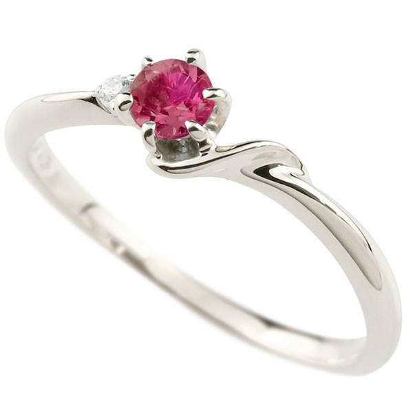 イニシャル ネーム S ピンキーリング ルビー ダイヤモンド 華奢リング プラチナ 指輪 アルファベット レディース 7月誕生石 人気 送料無料