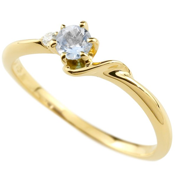イニシャル ネーム S ピンキーリング ブルームーンストーン ダイヤモンド 華奢リング イエローゴールドk10 指輪 アルファベット 10金 レディース 6月誕生石