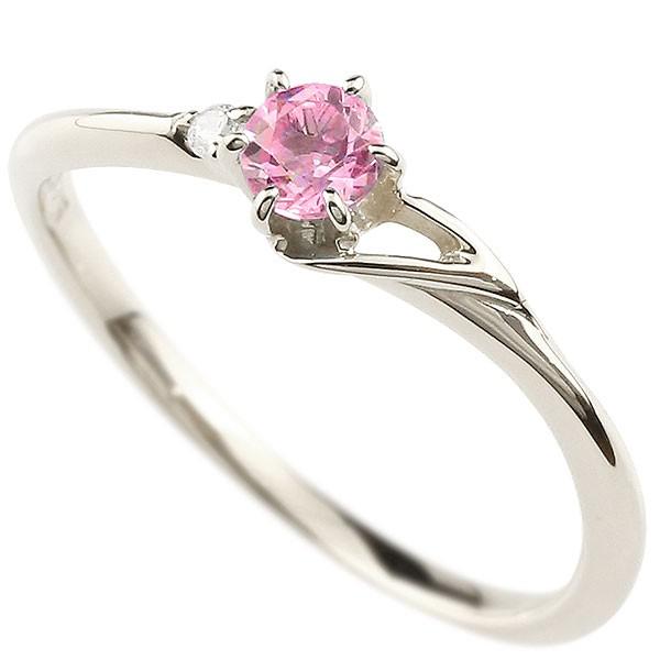 イニシャル ネーム T ピンキーリング ピンクサファイア ダイヤモンド 華奢リング プラチナ 指輪 アルファベット レディース 9月誕生石 人気 送料無料