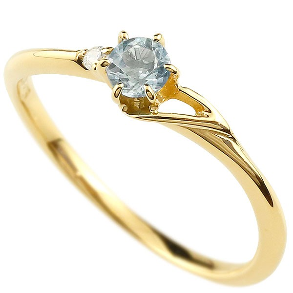 イニシャル ネーム T ピンキーリング アクアマリン ダイヤモンド 華奢リング イエローゴールドk18 指輪 アルファベット 18金 レディース 3月誕生石 人気