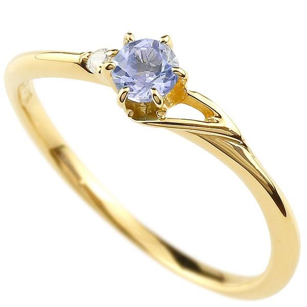 イニシャル ネーム T ピンキーリング タンザナイト ダイヤモンド 華奢リング イエローゴールドk10 指輪 アルファベット 10金 レディース 12月誕生石 人気