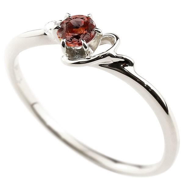 イニシャル ネーム Y ピンキーリング ガーネット ダイヤモンド 華奢リング プラチナ 指輪 アルファベット レディース 1月誕生石 人気 送料無料