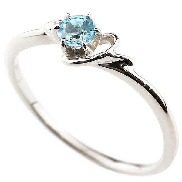 イニシャル ネーム Y ピンキーリング ブルートパーズ ダイヤモンド 華奢リング プラチナ 指輪 アルファベット レディース 11月誕生石 人気 送料無料