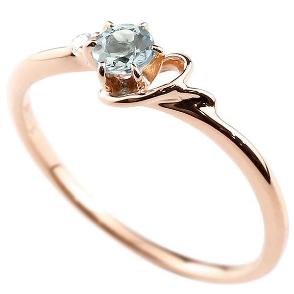 イニシャル ネーム Y ピンキーリング アクアマリン ダイヤモンド 華奢リング ピンクゴールドk10 指輪 アルファベット 10金 レディース 3月誕生石 人気 送料無料