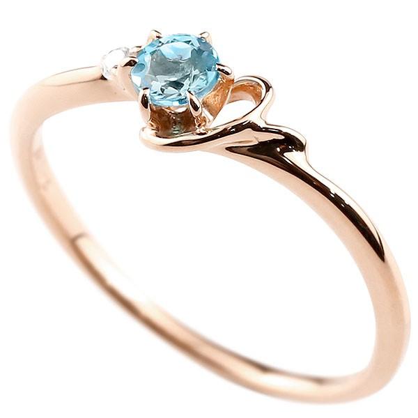 イニシャル ネーム Y ピンキーリング ブルートパーズ ダイヤモンド 華奢リング ピンクゴールドk10 指輪 アルファベット 10金 レディース 11月誕生石 人気
