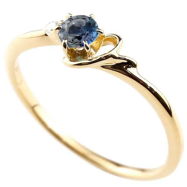 イニシャル ネーム Y ピンキーリング ブルーサファイア ダイヤモンド 華奢リング イエローゴールドk10 指輪 アルファベット 10金 レディース 9月誕生石 送料無料