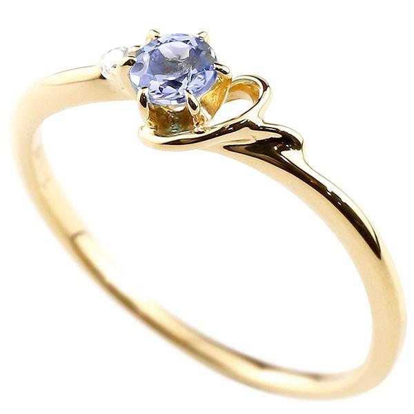 イニシャル ネーム Y ピンキーリング タンザナイト ダイヤモンド 華奢リング イエローゴールドk18 指輪 アルファベット 18金 レディース 12月誕生石 人気