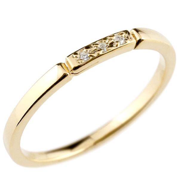 ピンキーリング ダイヤモンド イエローゴールドk10 結び エンゲージリング リング 10金 華奢 ストレート ダイヤ 指輪 送料無料