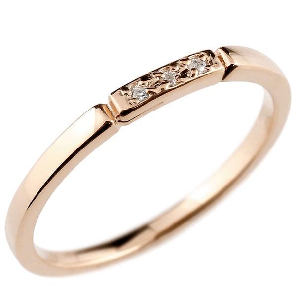 ピンキーリング ダイヤモンド ピンクゴールドk10 結び エンゲージリング リング 10金 華奢 ストレート ダイヤ 指輪 送料無料