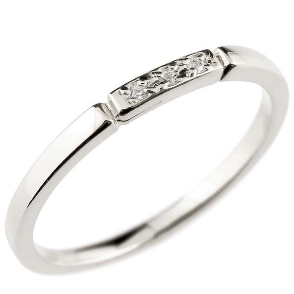ピンキーリング ダイヤモンド ホワイトゴールドk18 結び エンゲージリング リング 18金 華奢 ストレート ダイヤ 指輪 送料無料