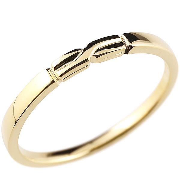 ピンキーリング イエローゴールドk10 結び リング エンゲージリング 指輪 10金 華奢 ストレート 地金 送料無料