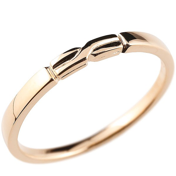 ピンキーリング ピンクゴールドk18 結び リング エンゲージリング 指輪 18金 華奢 ストレート 地金 送料無料