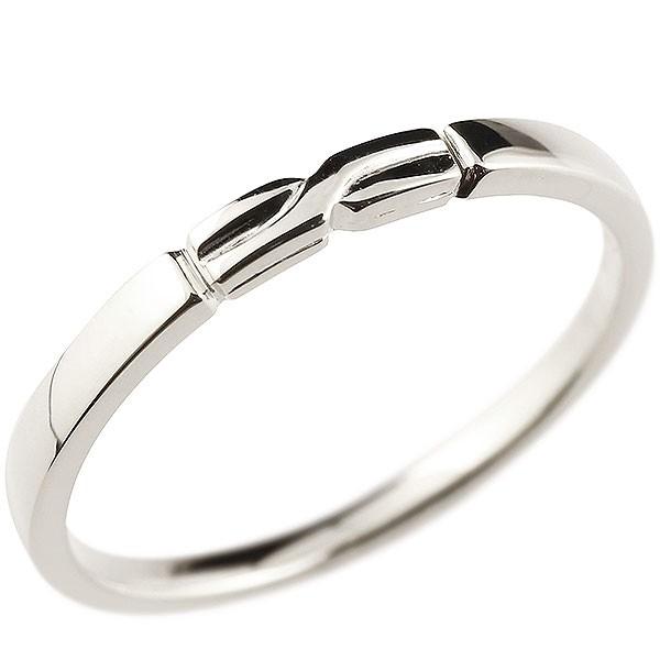 ピンキーリング ホワイトゴールドk18 結び リング エンゲージリング 指輪 18金 華奢 ストレート 地金 送料無料
