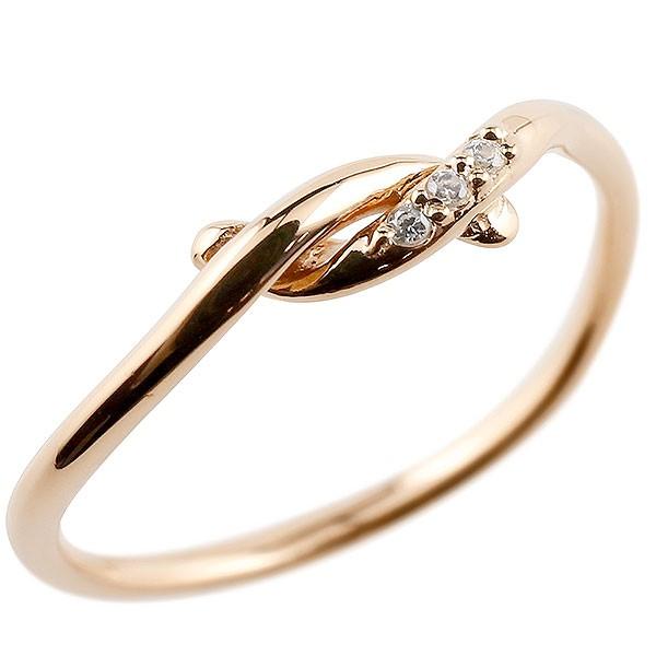 ピンキーリング ダイヤモンド ピンクゴールドk18 結び リング エンゲージリング 指輪 18金 華奢 指輪 ダイヤ 送料無料