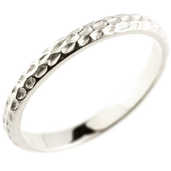リング ホワイトゴールドK10 指輪 槌目 槌打ち 指輪 10金 ストレート 地金 ピンキーリング 重ね付け リング レディース 送料無料