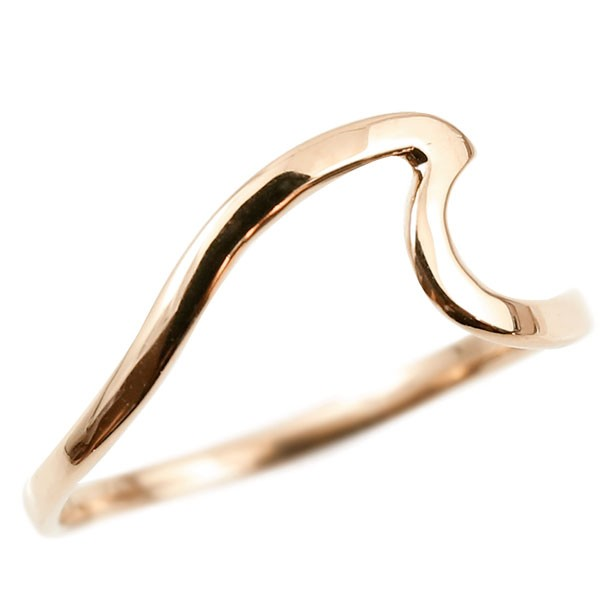 ファランジリング ピンクゴールドk10 指輪 スクロール 波 ピンキーリング 10金 華奢 リング 地金 送料無料