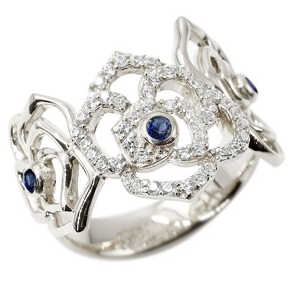 リング バラ サファイア シルバー キュービックジルコニア 婚約指輪 ピンキーリング 指輪 幅広 エンゲージリング sv925 薔薇 ローズ 宝石 レディース 送料無料