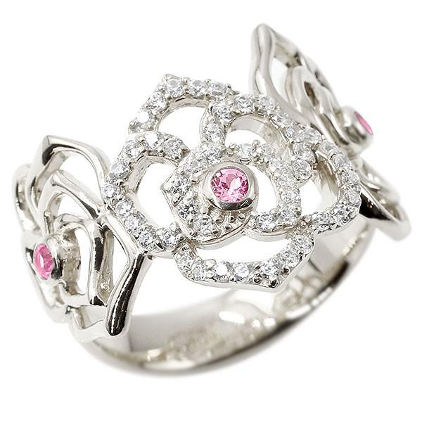 リング バラ ダイヤモンド ピンクサファイア ホワイトゴールドk10 婚約指輪 ピンキーリング ダイヤ 指輪 幅広 エンゲージリング 10金 薔薇 ローズ レディース