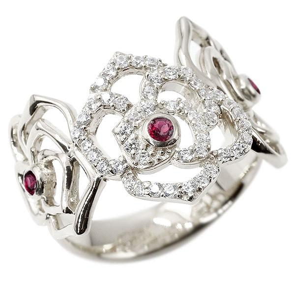 リング バラ ルビー ホワイトゴールドk10 キュービックジルコニア 婚約指輪 ピンキーリング 指輪 幅広 エンゲージリング 10金 薔薇 ローズ 宝石 レディース