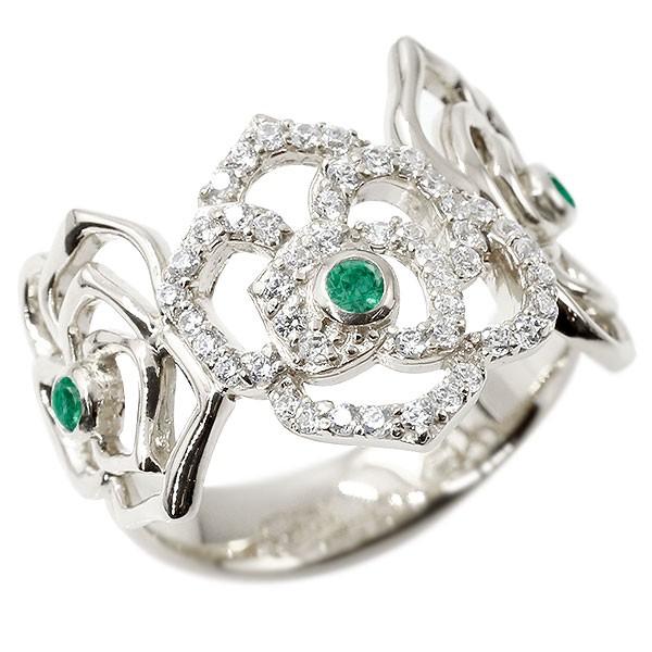 リング バラ エメラルド シルバー キュービックジルコニア 婚約指輪 ピンキーリング 指輪 幅広 エンゲージリング sv925 薔薇 ローズ 宝石 レディース 送料無料