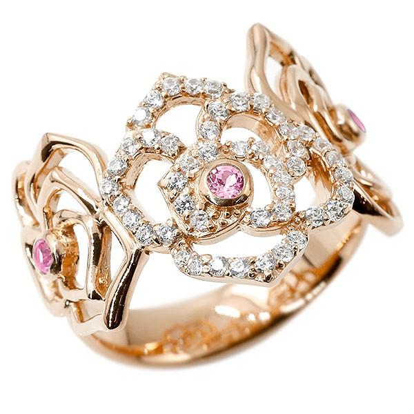 リング バラ ピンクサファイア ピンクゴールドk10 キュービックジルコニア 婚約指輪 ピンキーリング 指輪 幅広 エンゲージリング 10金 薔薇 ローズ レディース