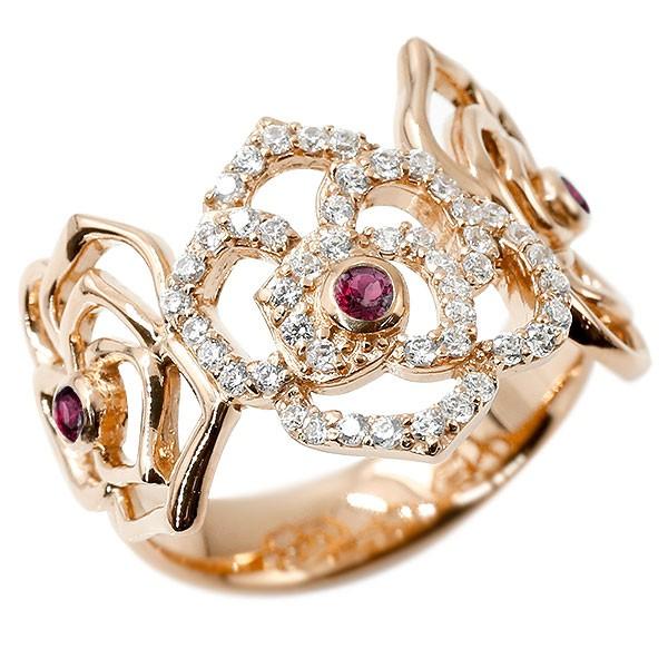 リング バラ ルビー ピンクゴールドk18 キュービックジルコニア 婚約指輪 ピンキーリング 指輪 幅広 エンゲージリング 18金 薔薇 ローズ 宝石 レディース