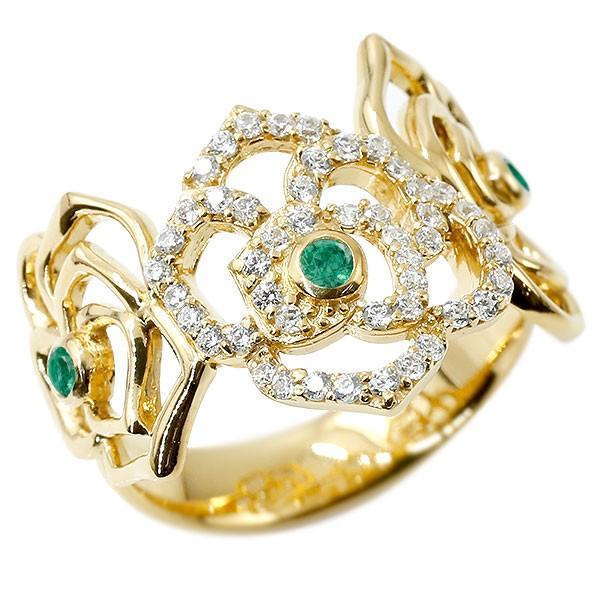 リング バラ ダイヤモンド エメラルド イエローゴールドk18 婚約指輪 ピンキーリング ダイヤ 指輪 幅広 エンゲージリング 18金 薔薇 ローズ 宝石 レディース