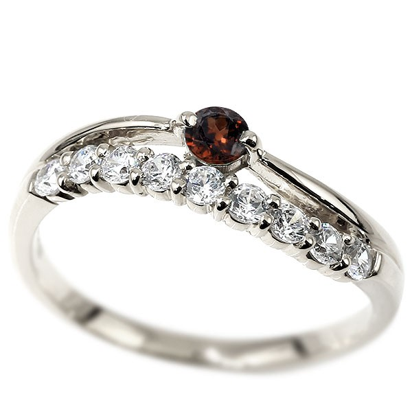 リング ダイヤモンド ガーネット ホワイトゴールドk10 ウェーブ 指輪 10金 ハーフエタニティ 2連リング ダイヤ 1月誕生石 ピンキーリング レディース 送料無料