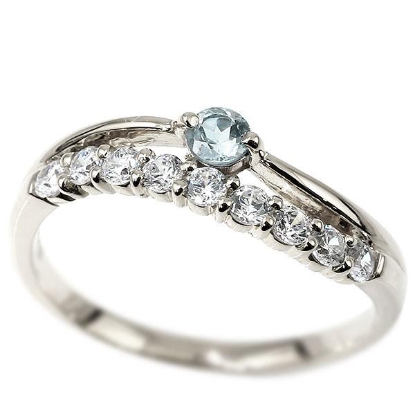 プラチナリング アクアマリン キュービックジルコニア ウェーブ 指輪 pt900 ハーフエタニティ 2連リング 3月誕生石 ピンキーリング レディース 送料無料
