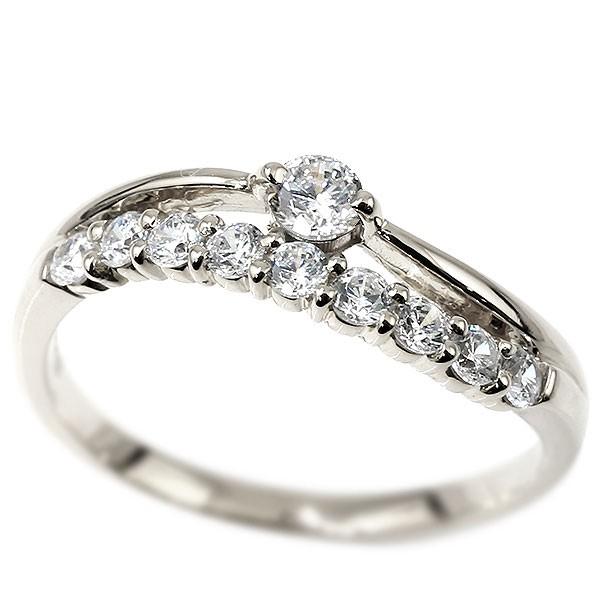 リング ダイヤモンド ホワイトゴールドk18 ウェーブ 指輪 18金 ハーフエタニティ 2連リング ダイヤ 4月誕生石 ピンキーリング レディース 送料無料