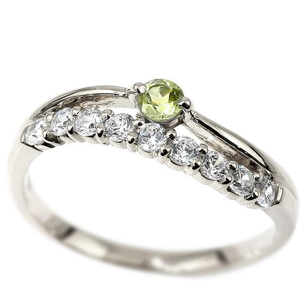リング ダイヤモンド ペリドット ホワイトゴールドk10 ウェーブ 指輪 10金 ハーフエタニティ 2連リング ダイヤ 8月誕生石 ピンキーリング レディース 送料無料