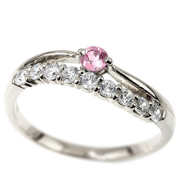 プラチナリング ピンクサファイア キュービックジルコニア ウェーブ 指輪 pt900 ハーフエタニティ 2連リング 9月誕生石 ピンキーリング レディース 送料無料