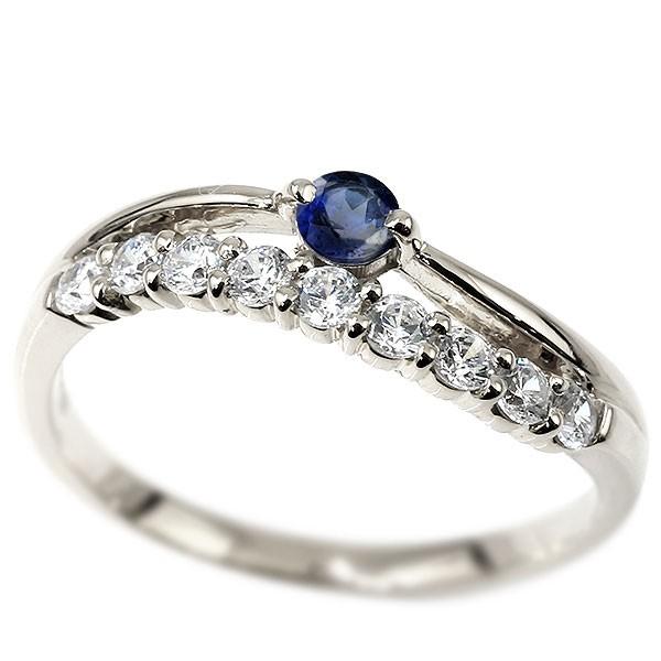 リング ダイヤモンド サファイア ホワイトゴールドk18 ウェーブ 指輪 18金 ハーフエタニティ 2連リング ダイヤ 9月誕生石 ピンキーリング レディース 送料無料