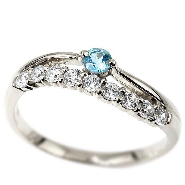 プラチナリング ダイヤモンド ブルートパーズ ウェーブ 指輪 pt900 ハーフエタニティ 2連リング ダイヤ 11月誕生石 ピンキーリング レディース 送料無料
